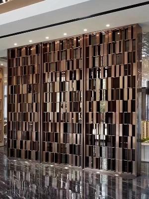 高级楼盘不锈钢背景装饰墙定制