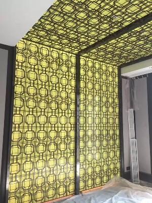 天花连墙一体不锈钢背景装饰墙定制