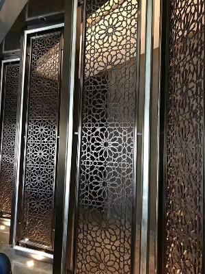 高级餐厅不锈钢背景装饰墙定制